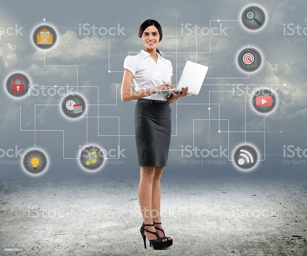 Businesswoman using laptop vector art illustration