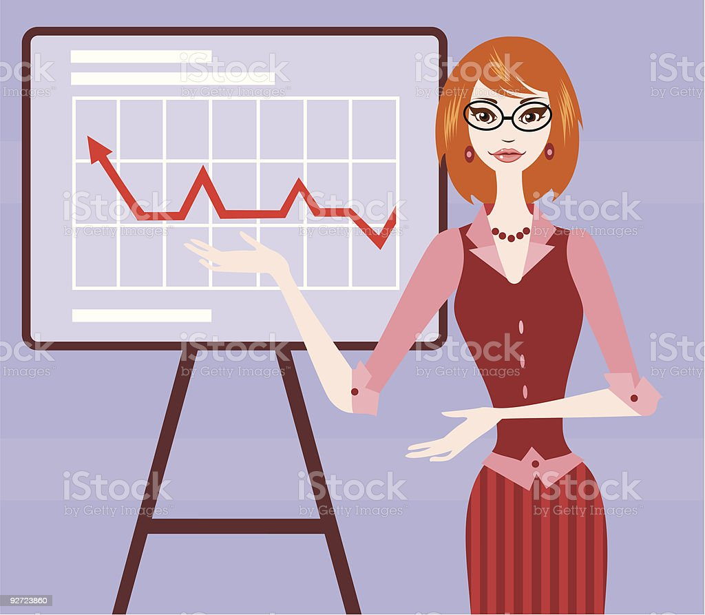 Businesswoman With Chart vector art illustration