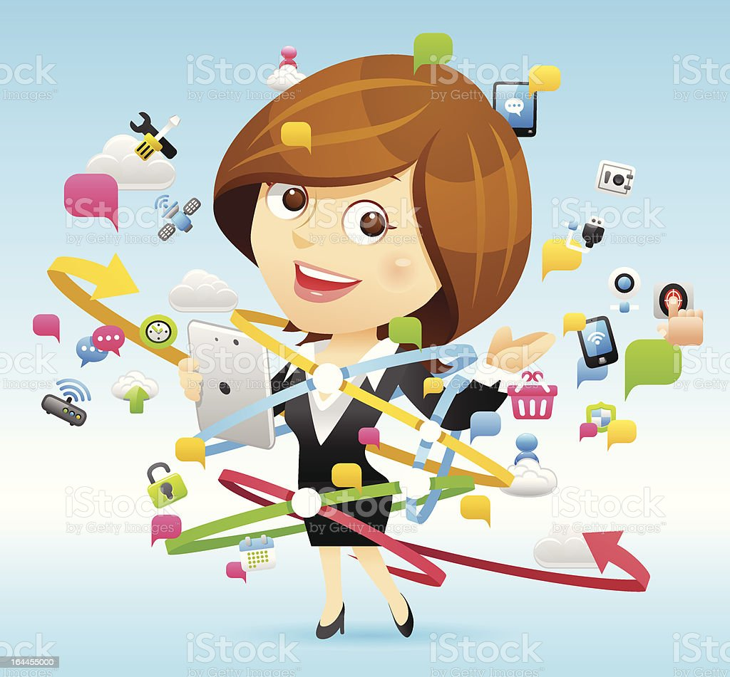 Businesswoman,Tablet PC,Cloud computing concept royalty-free stock vector art