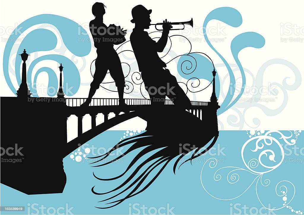 Buskers on the bridge vector art illustration