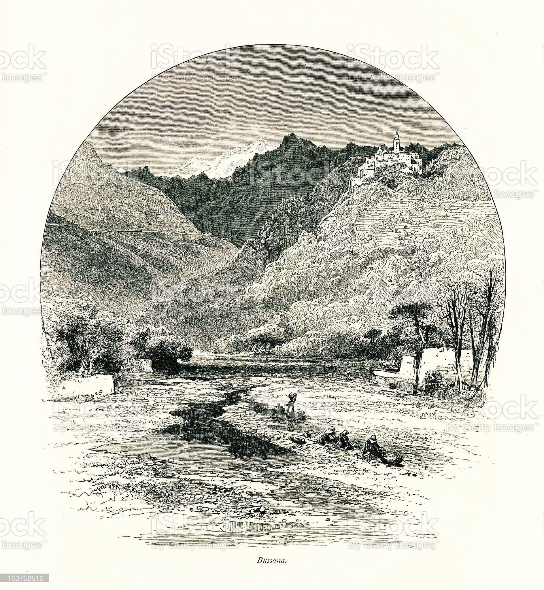 Bussana Vecchia, Italy I Antique European Illustrations royalty-free stock vector art