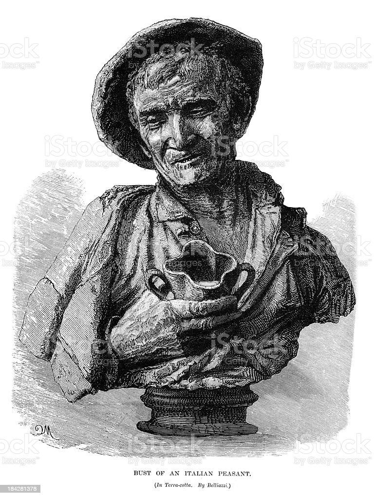Bust of an Italian Peasant vector art illustration