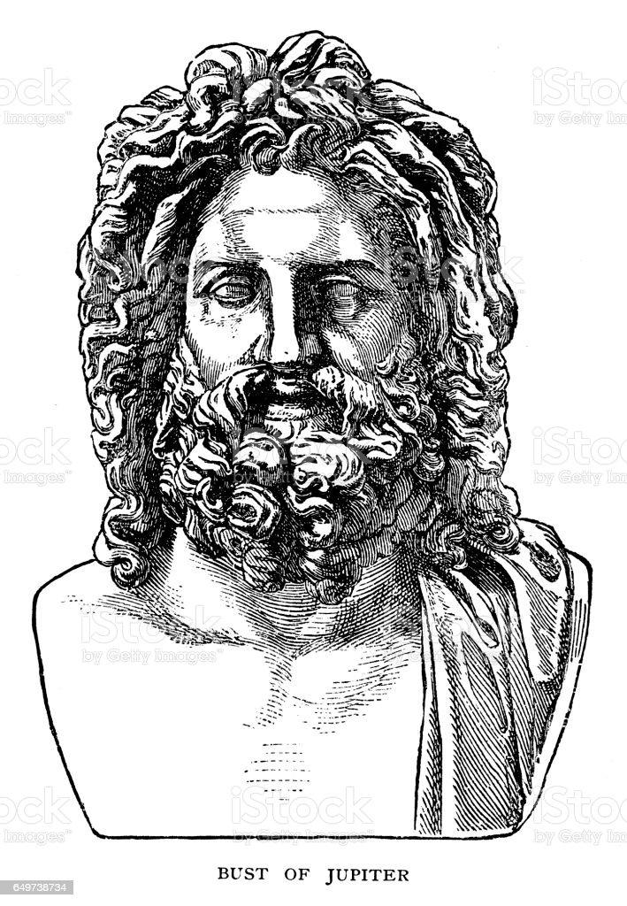 Bust of Jupiter vector art illustration