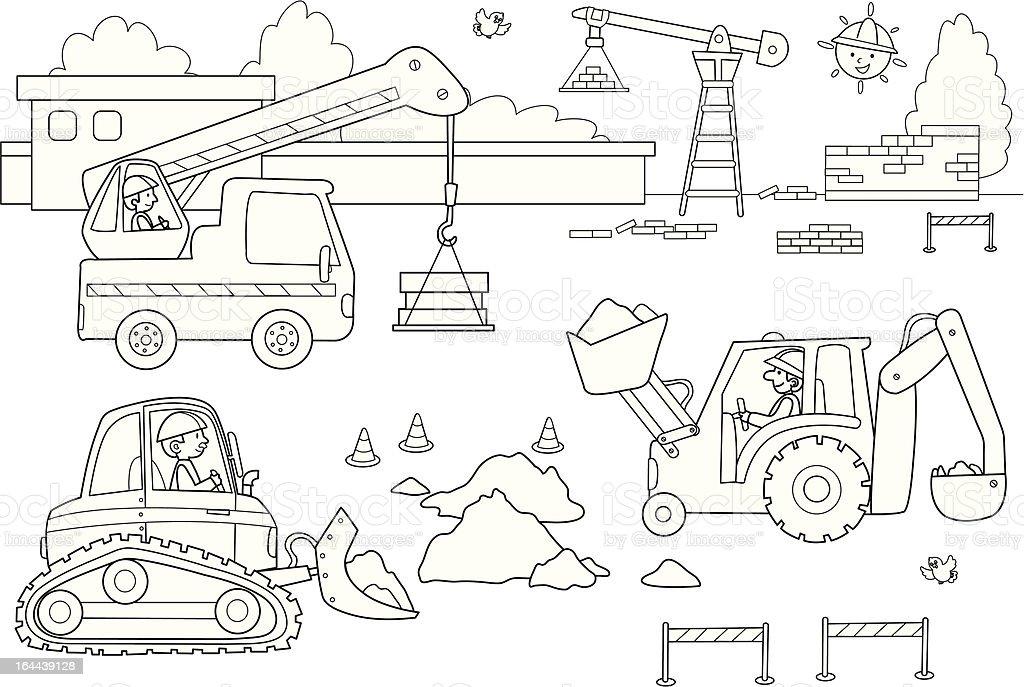 Busy dockyard vector art illustration