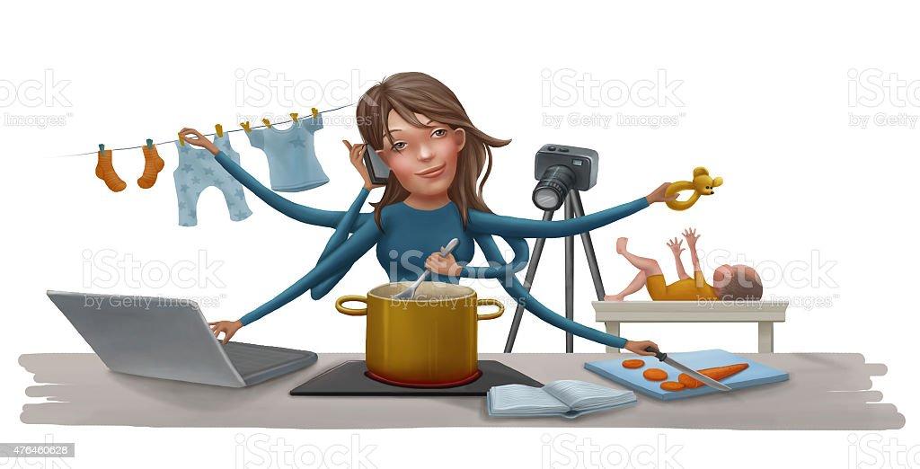 busy mother vector art illustration