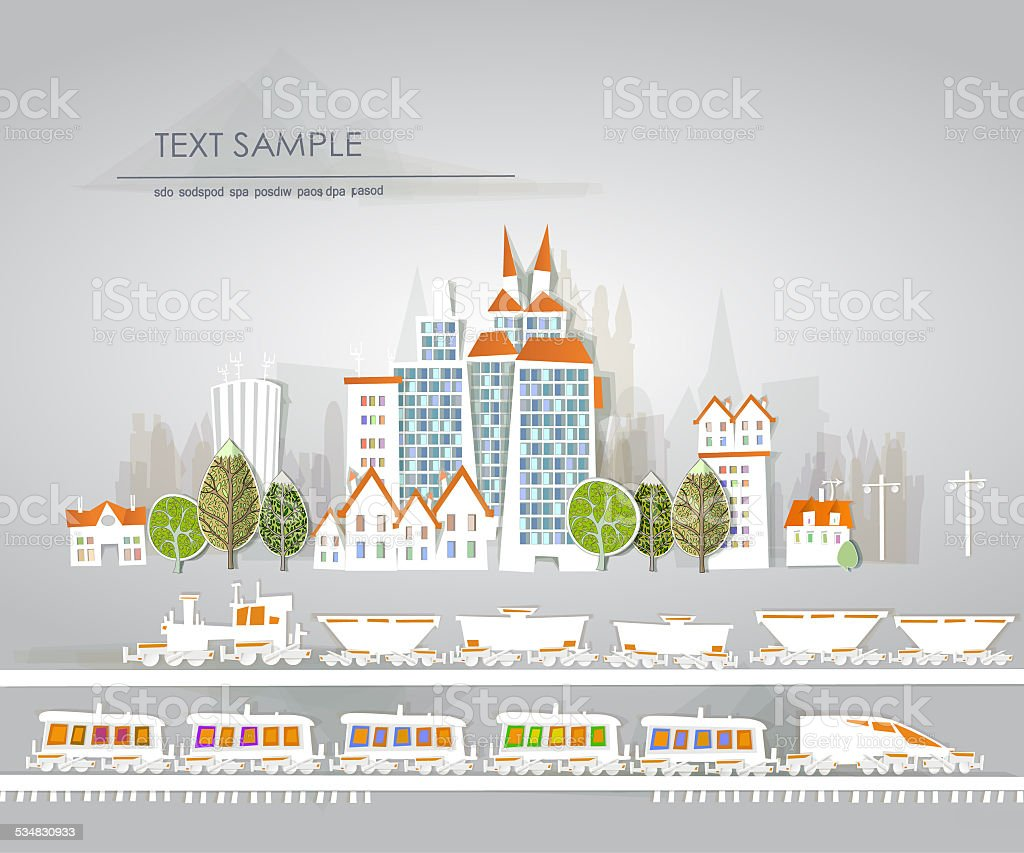 Busy roads, junctions and bridges White city collection vector art illustration