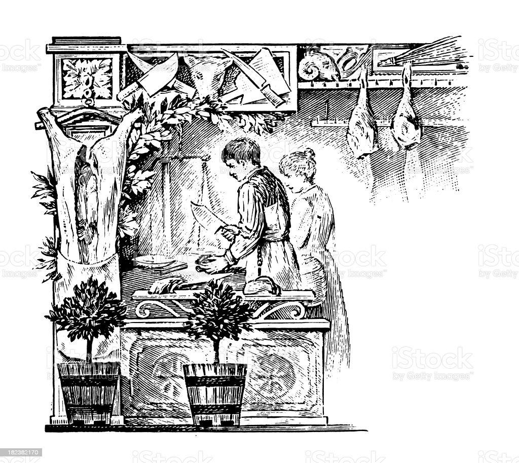 Butcher's shop | Antique Design Illustrations royalty-free stock vector art