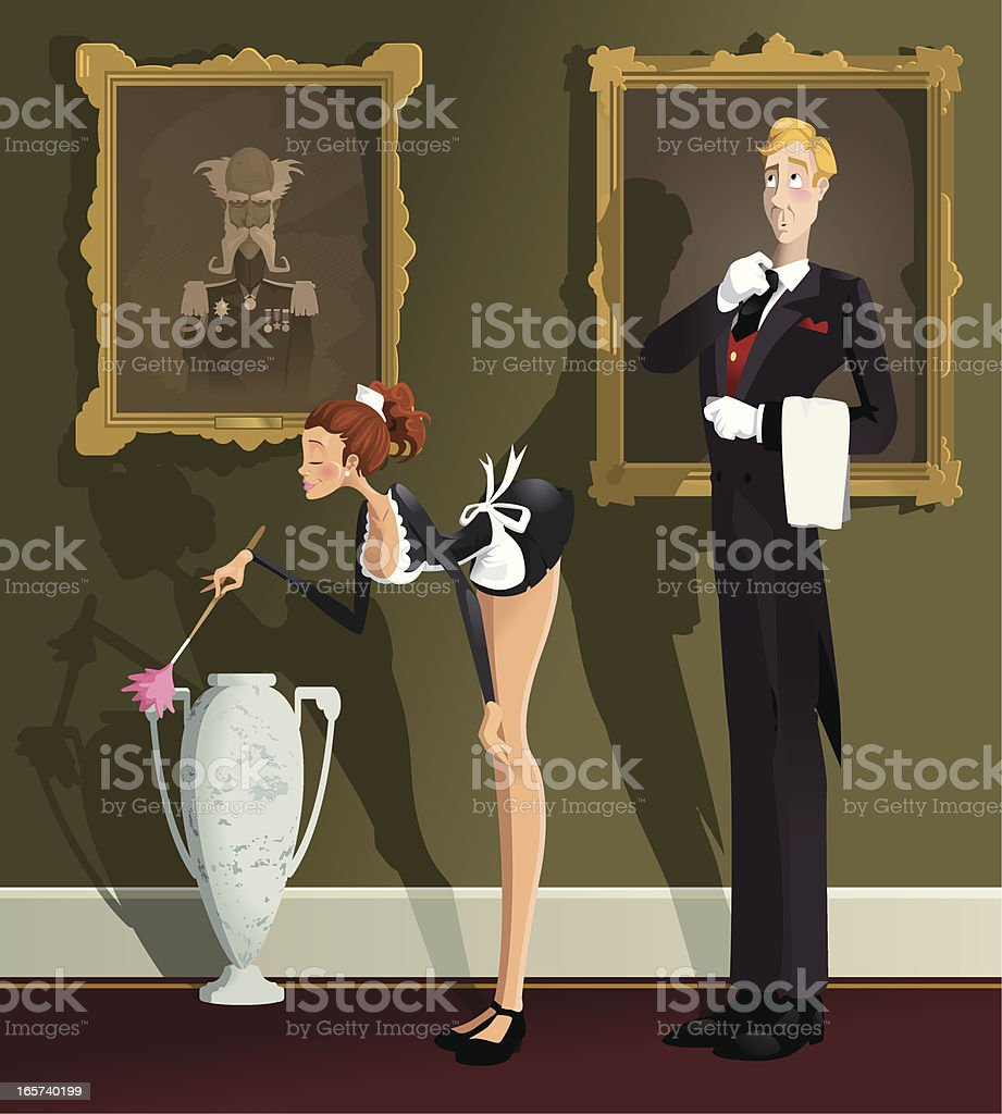 Butler and the Maid vector art illustration
