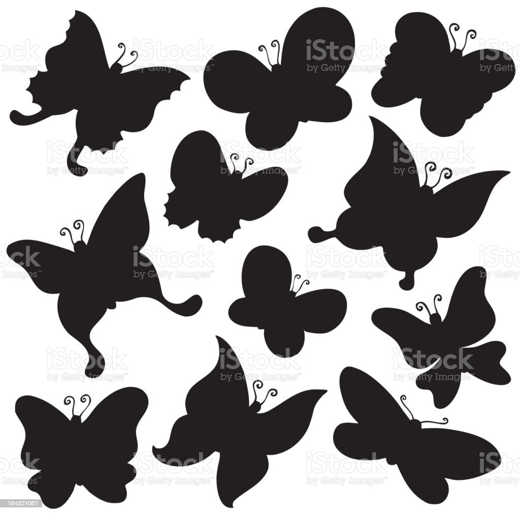 Butterflies silhouette collection royalty-free stock vector art