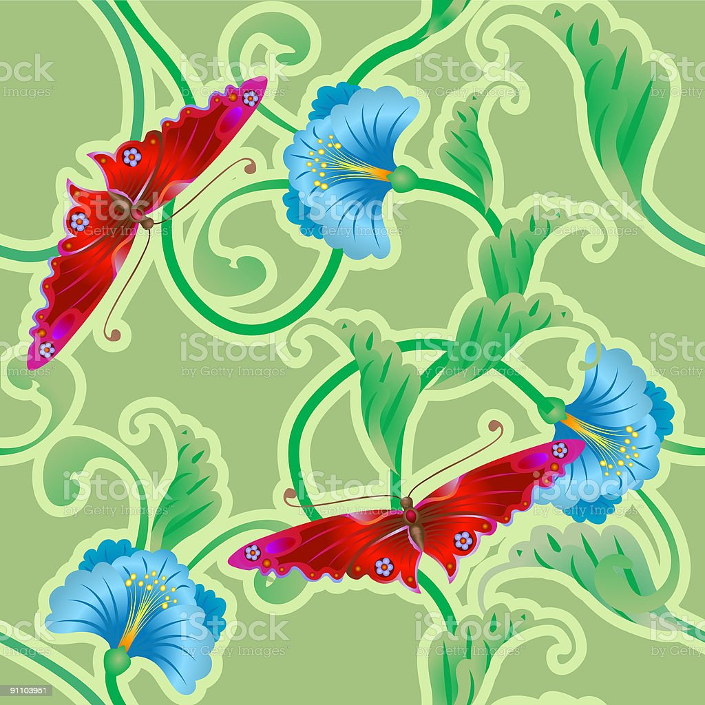 Butterfly and flower oriental tileable seamless background royalty-free stock vector art