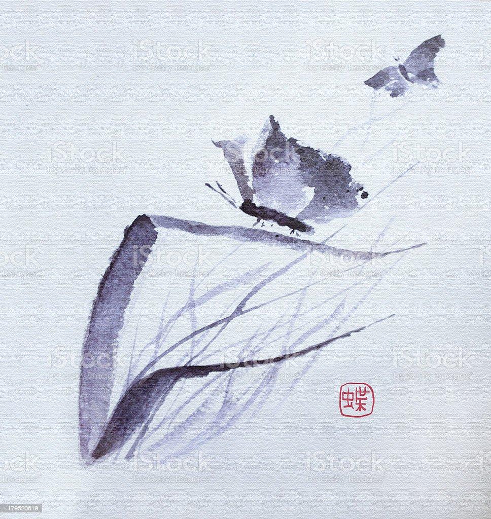 Butterfly flowers watercolor vector art illustration