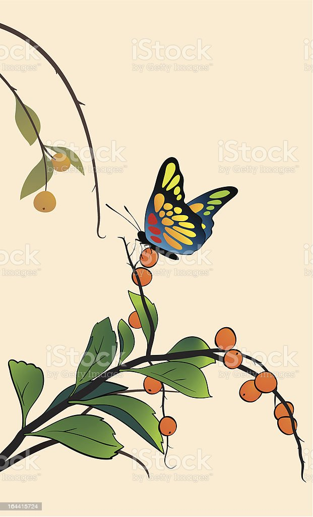 Butterfly on the branch vector art illustration