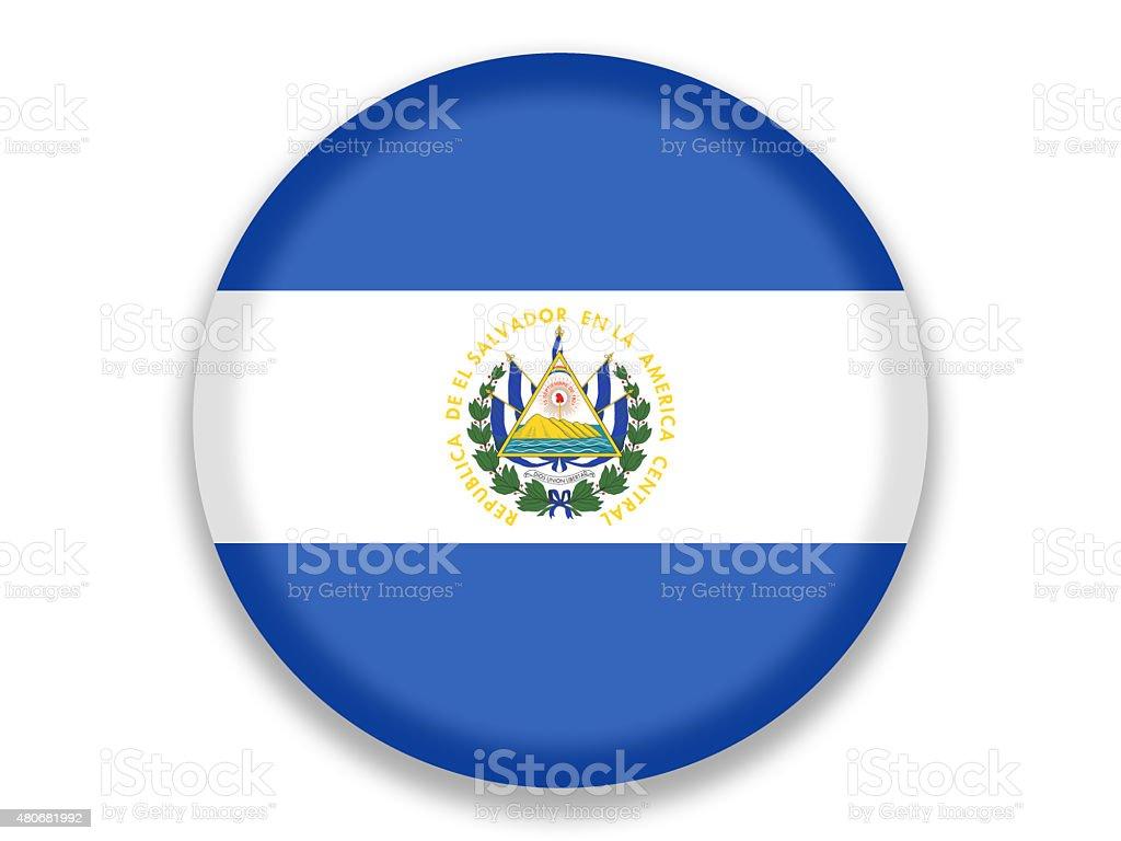 Button National Flag of El Salvador vector art illustration