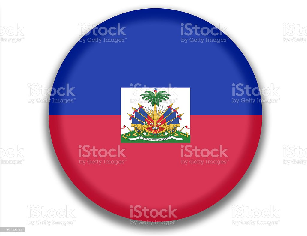 Button National Flag of Haiti vector art illustration