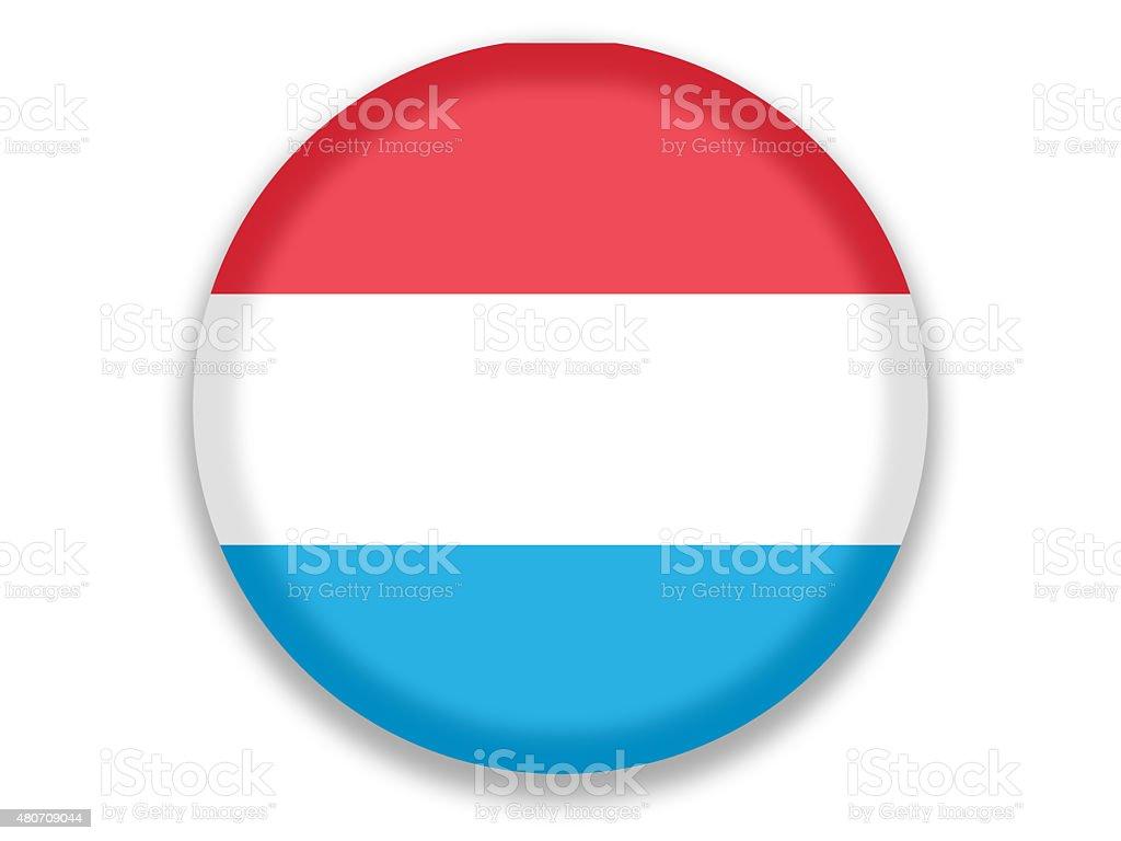 Button National Flag of Luxemburg vector art illustration