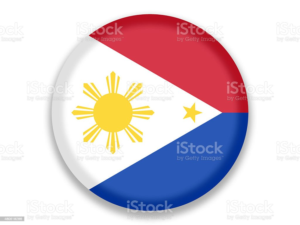 Button National Flag of Philipines vector art illustration