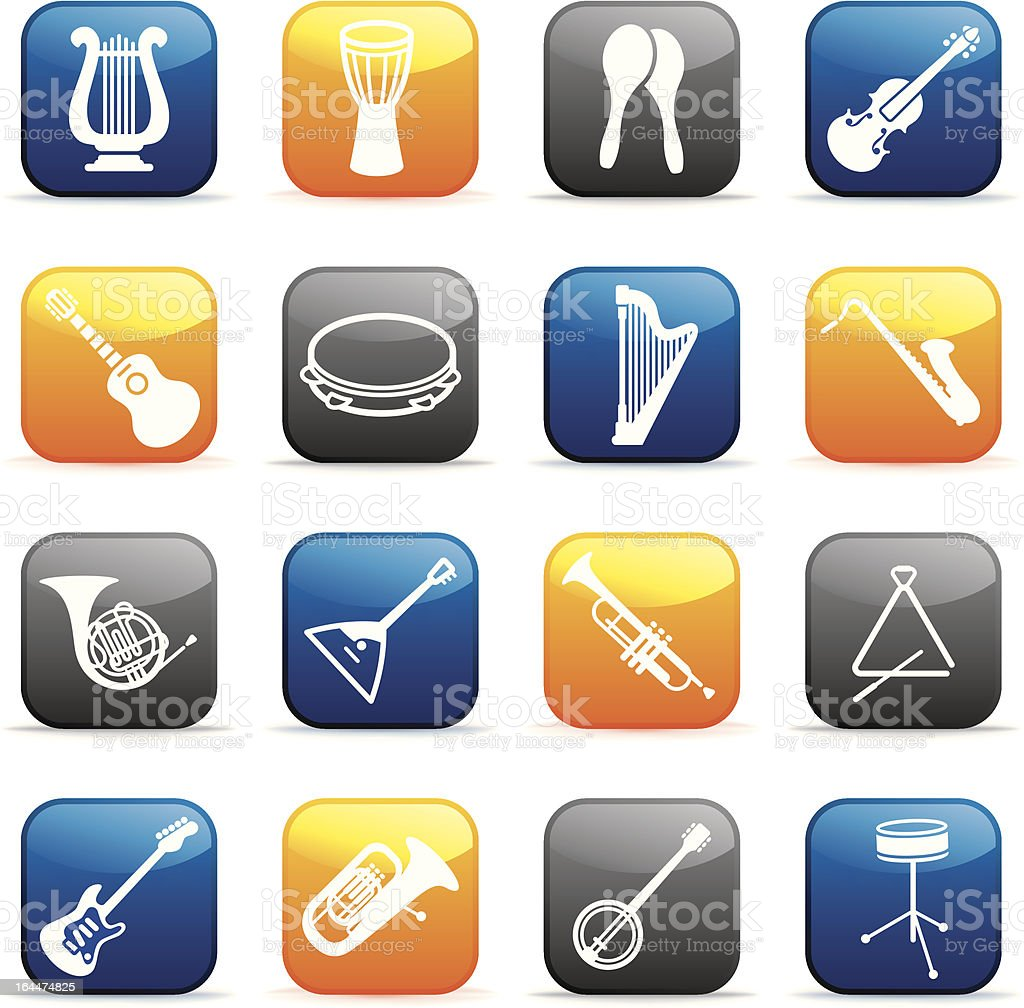Buttons of musical instruments royalty-free stock vector art