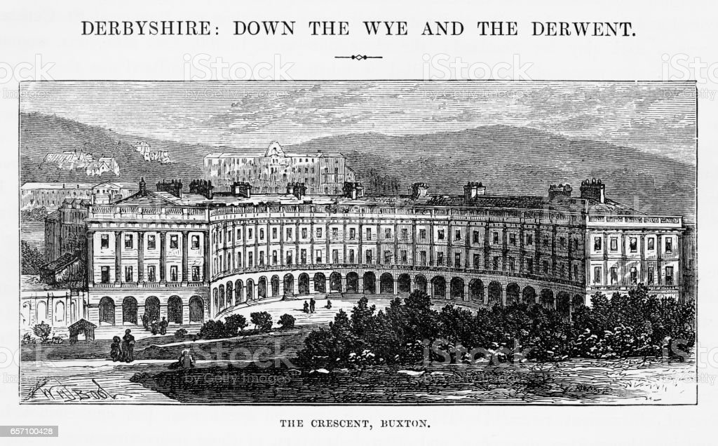 Buxton Crescent in Derbyshire, England Victorian Engraving, 1840 vector art illustration