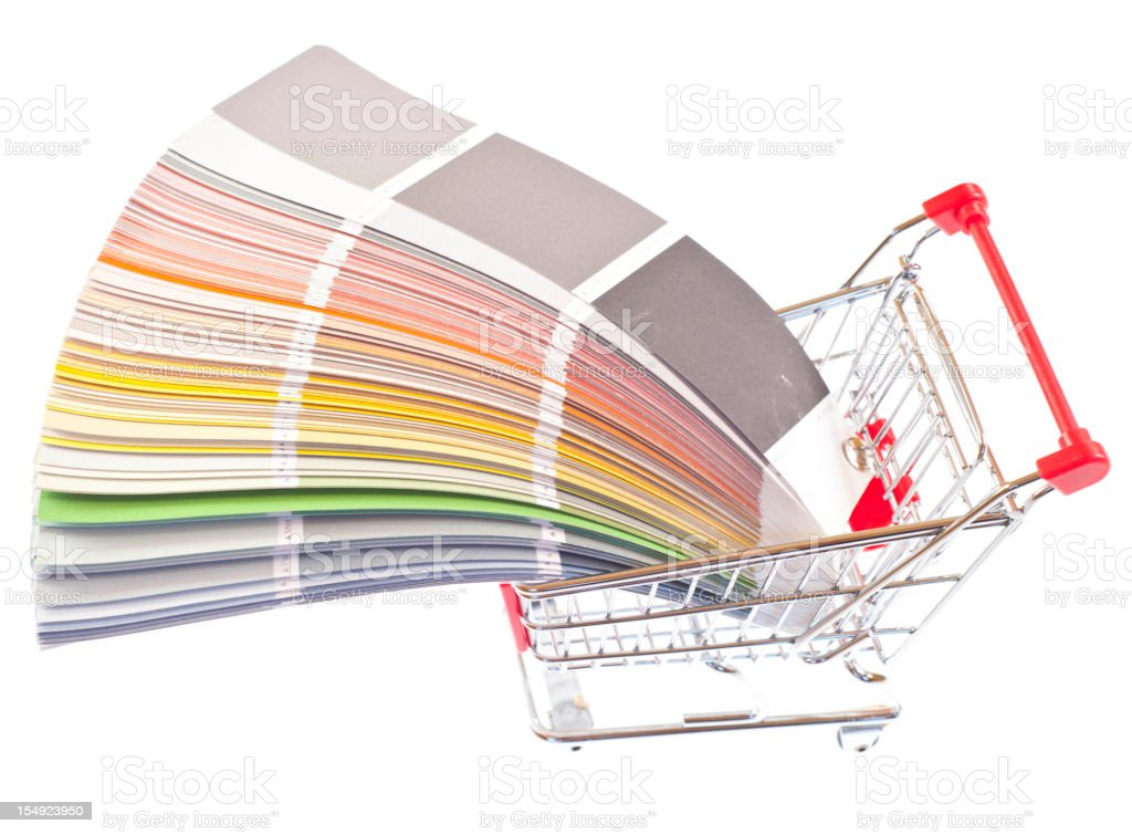Buy colors in shopping cart royalty-free stock vector art