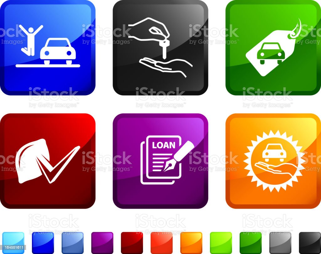 buying a new car royalty free vector icon set vector art illustration