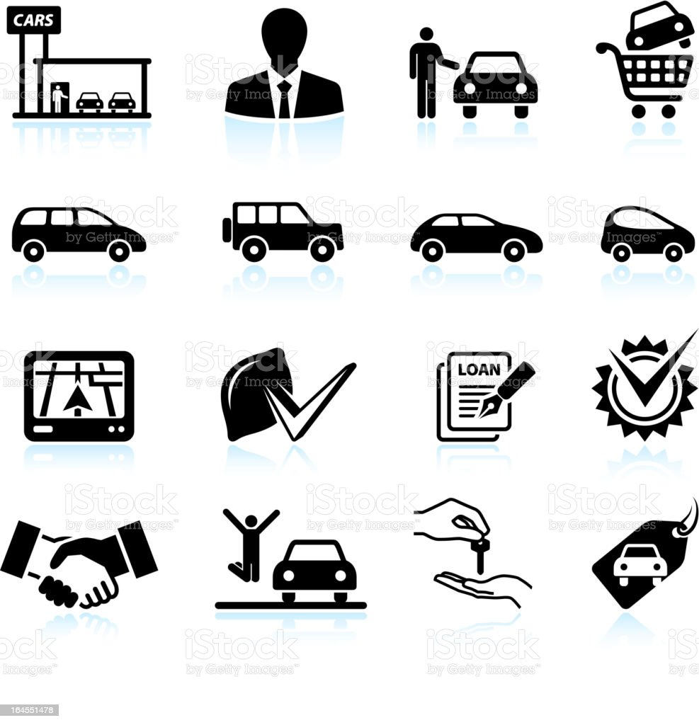 Buying new Car at dealership black & white icon set vector art illustration