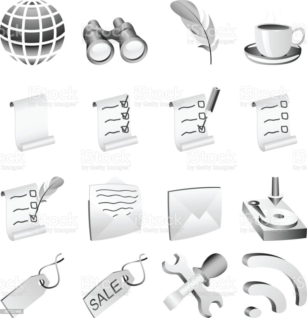 B&w icon set. royalty-free stock vector art