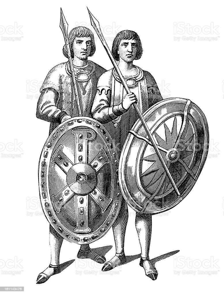 Byzantine Infantry royalty-free stock vector art