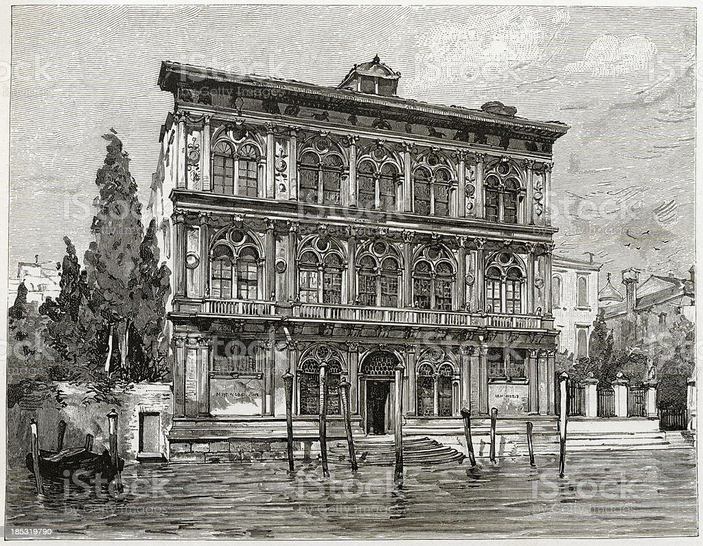 Ca' Vendramin Calergi, Venice, Engraving, 1884 vector art illustration