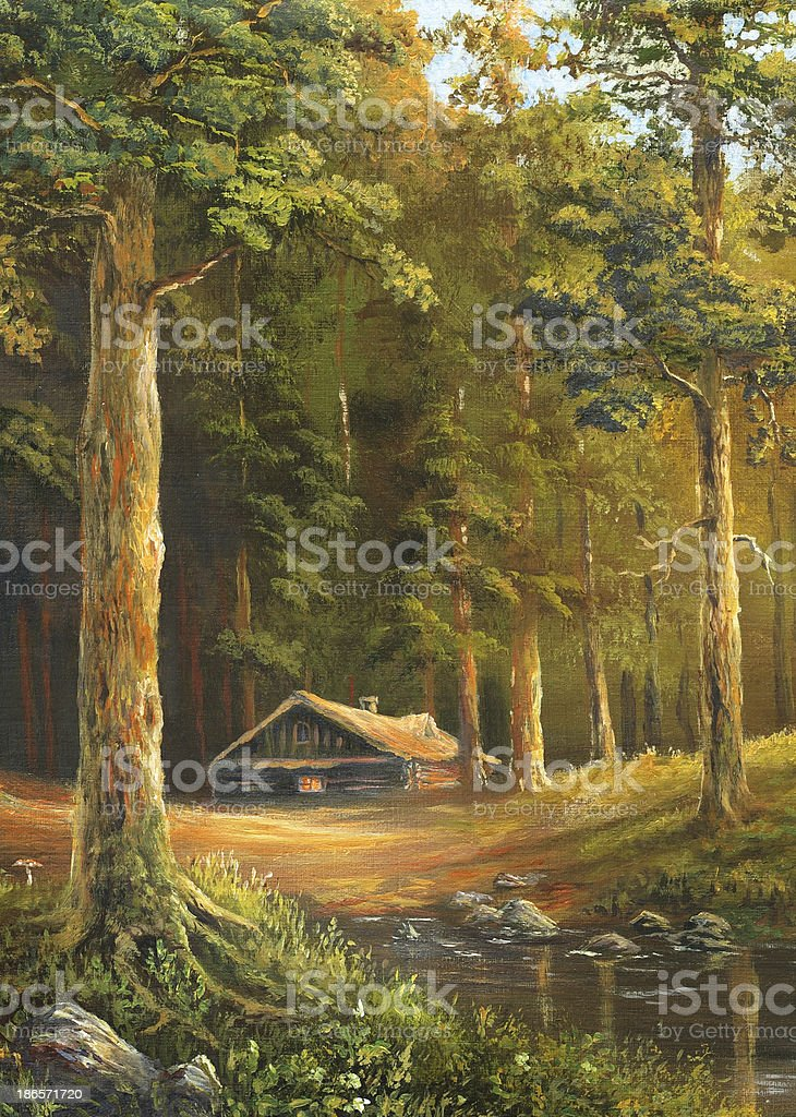 Cabin in the woods vector art illustration