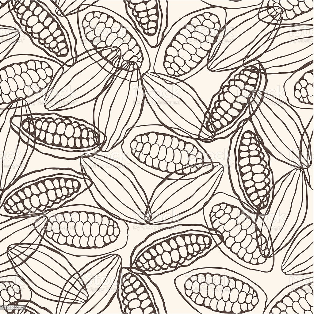 cacao pod seamless pattern vector art illustration