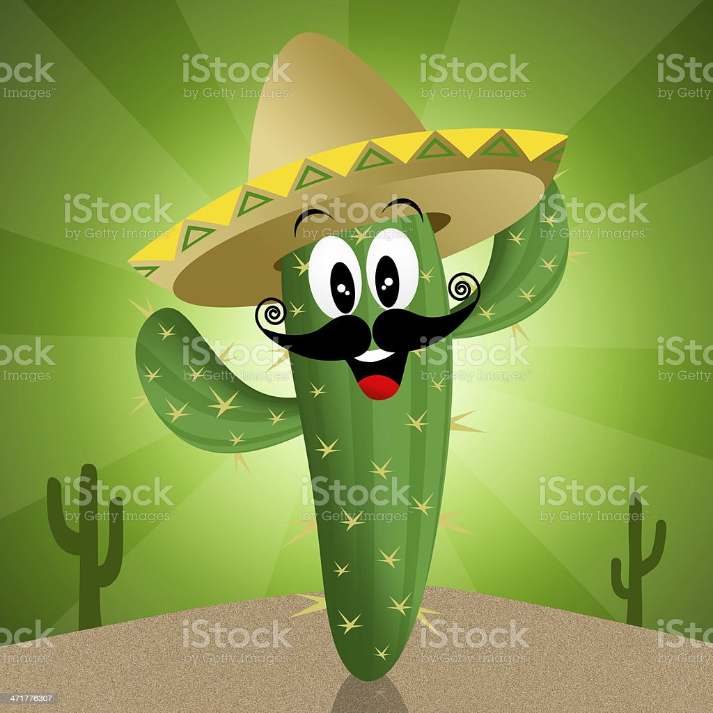 Cactus with sombrero royalty-free stock vector art