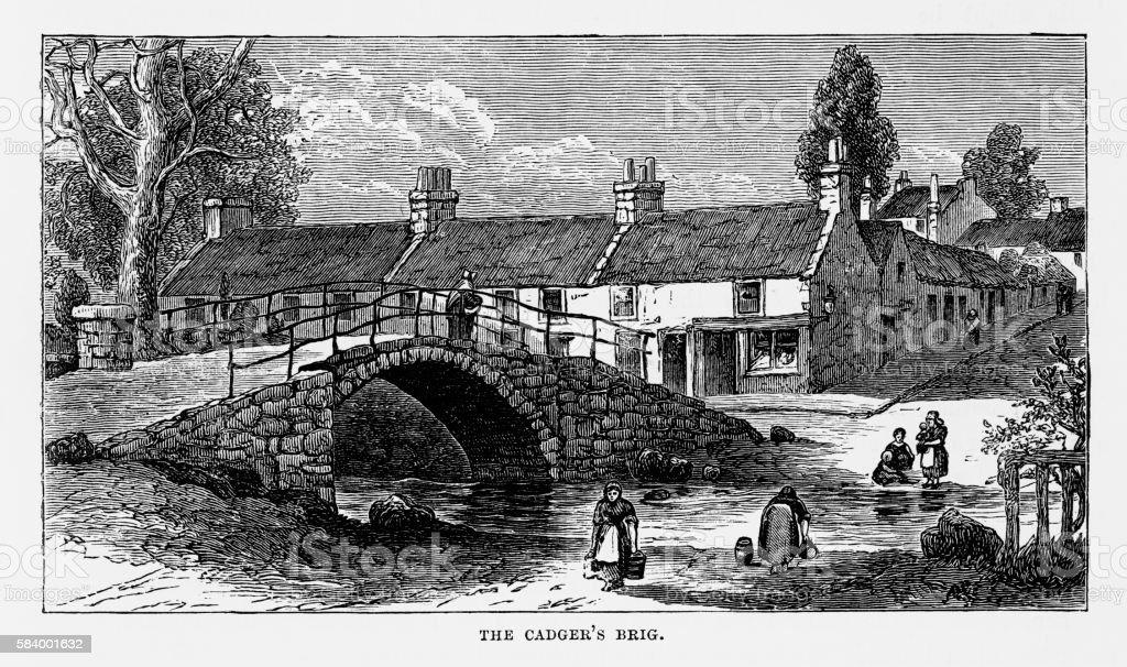 Cadger's Brig in Scotland Victorian Engraving, Circa 1840 vector art illustration