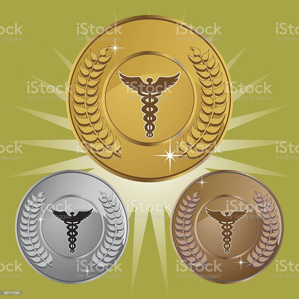 Caduceus Laurel Wreath Coin Set royalty-free stock vector art