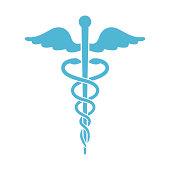Caduceus medical symbol isolated on white