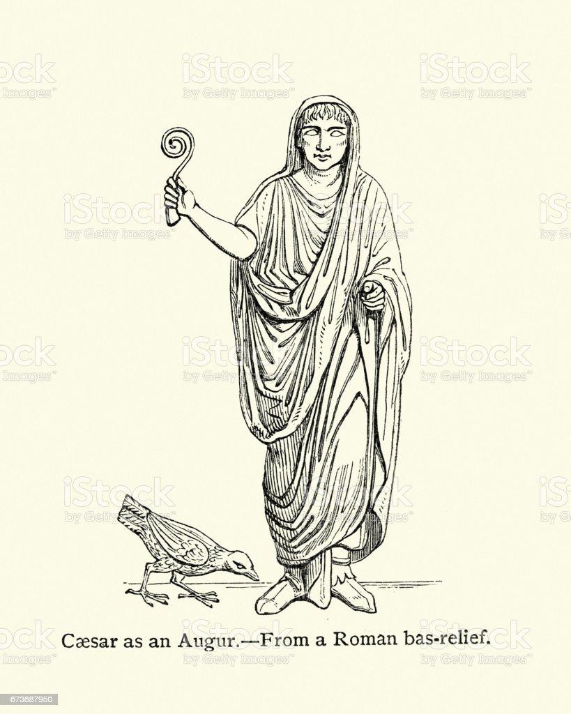 Caesar as an Augur vector art illustration