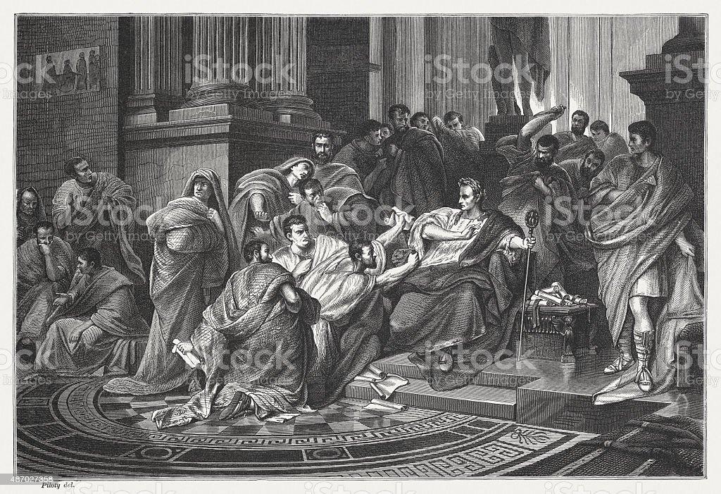 Caesars death, published in 1878 vector art illustration