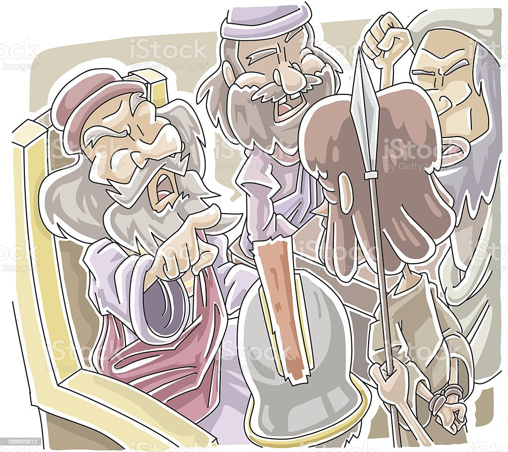 Caiaphas and the Sanhedrin vector art illustration