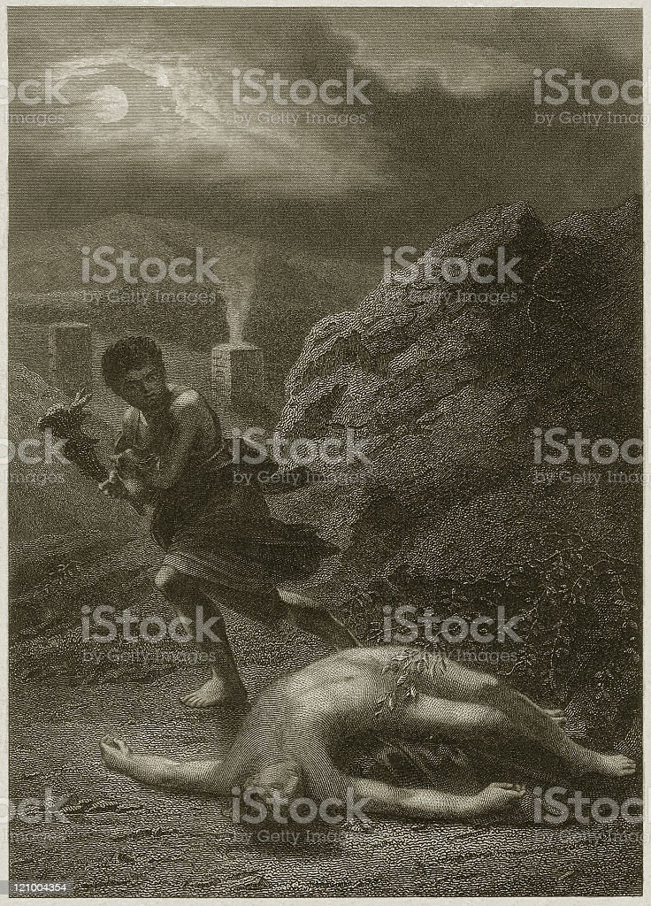 Cain and Abel (Genesis 4, 8-10), steel engraving, published 1877 royalty-free stock vector art