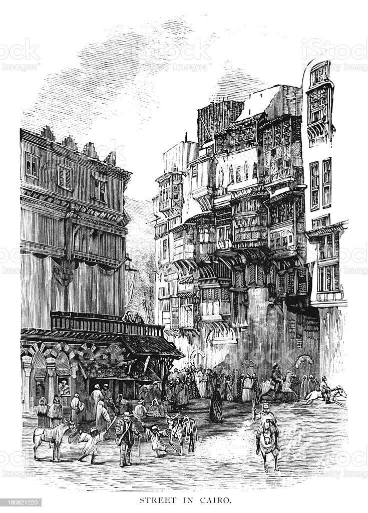 Cairo street scene - Victorian woodcut royalty-free stock vector art