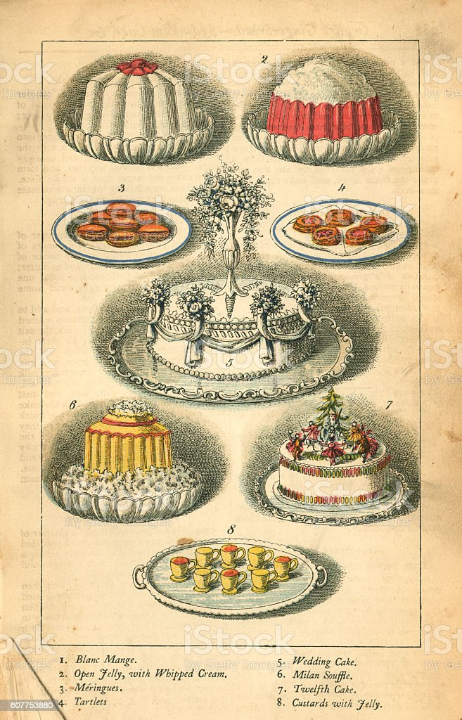 Cakes and puddings - Victorian illustration vector art illustration