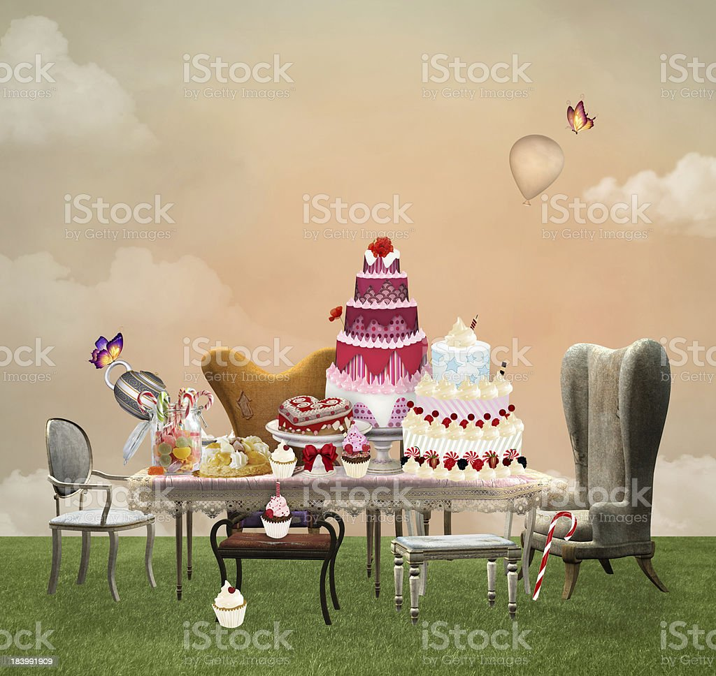 Cakes party vector art illustration