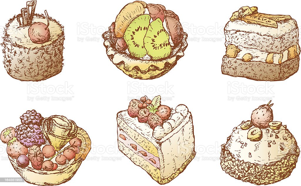 Cakes with fruit royalty-free stock vector art