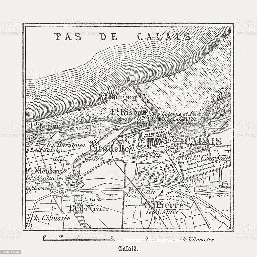 Calais, France, wood engraving, published in 1882 vector art illustration
