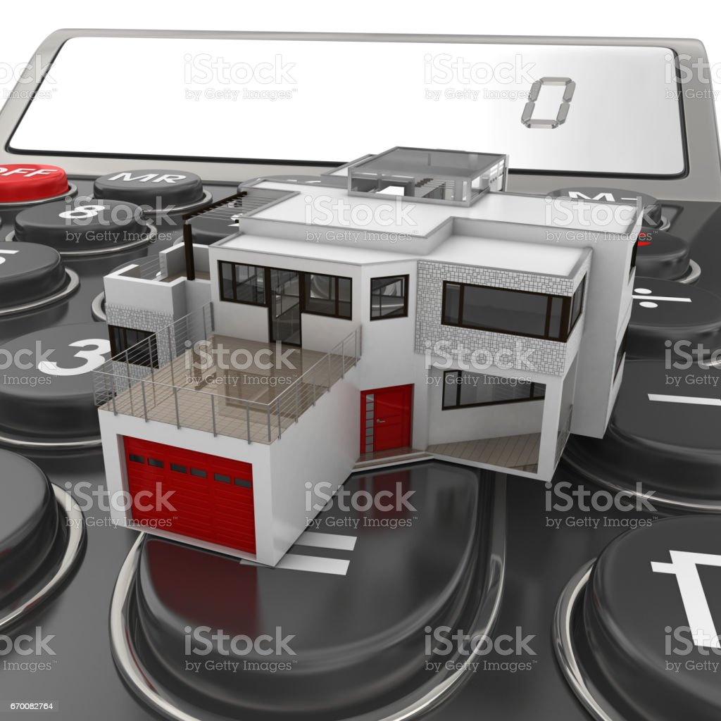 Calculator and House stock photo