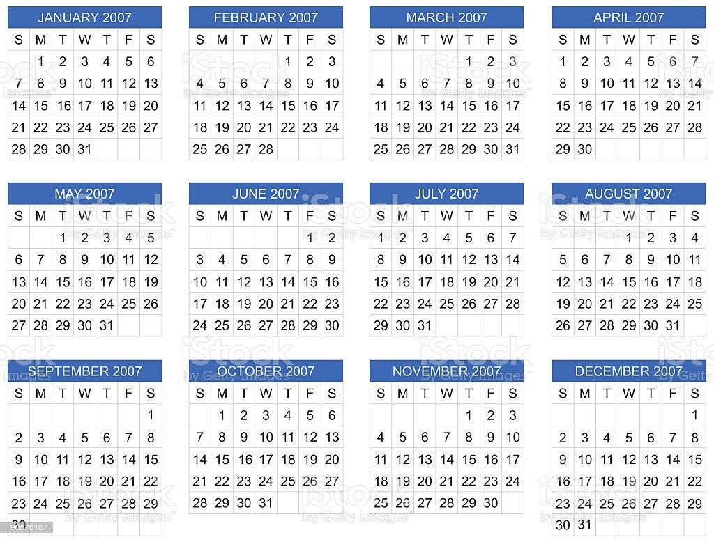 calendar 2007, start on Sunday, vector vector art illustration