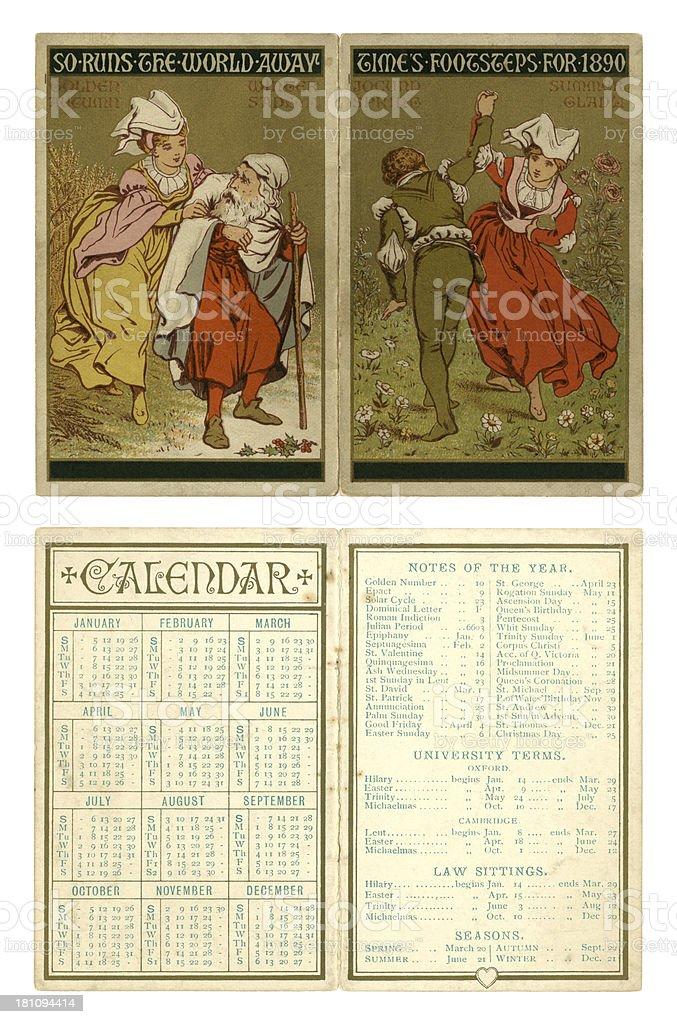 Calendar for 1890 royalty-free stock vector art