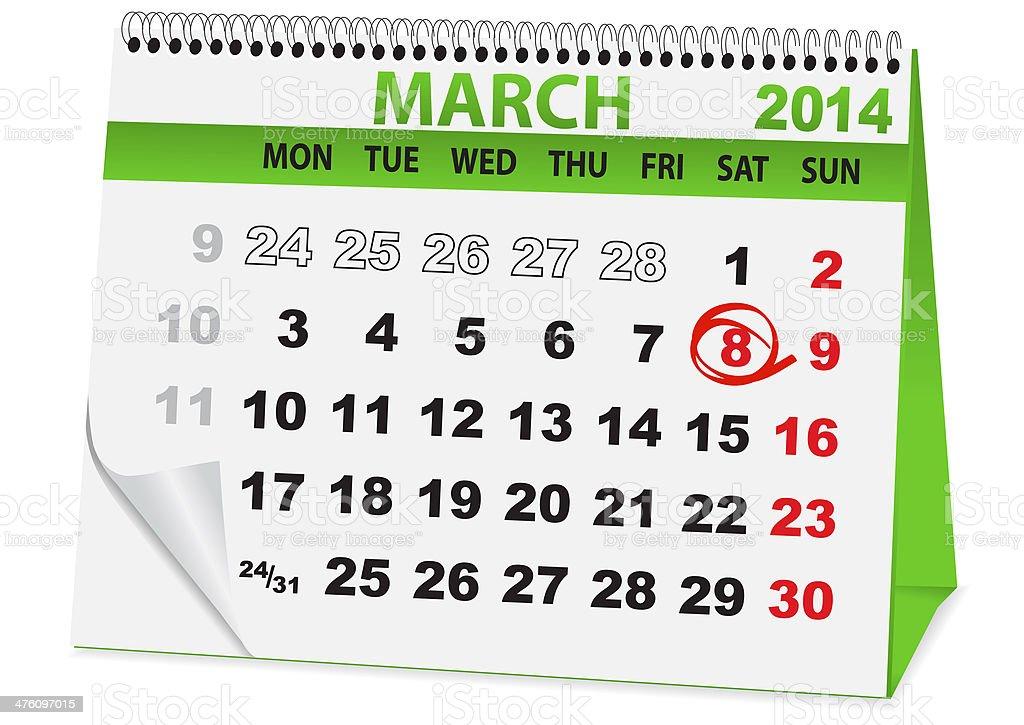 calendar for 8 March royalty-free stock vector art