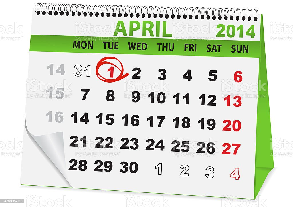 calendar for the day fool royalty-free stock vector art