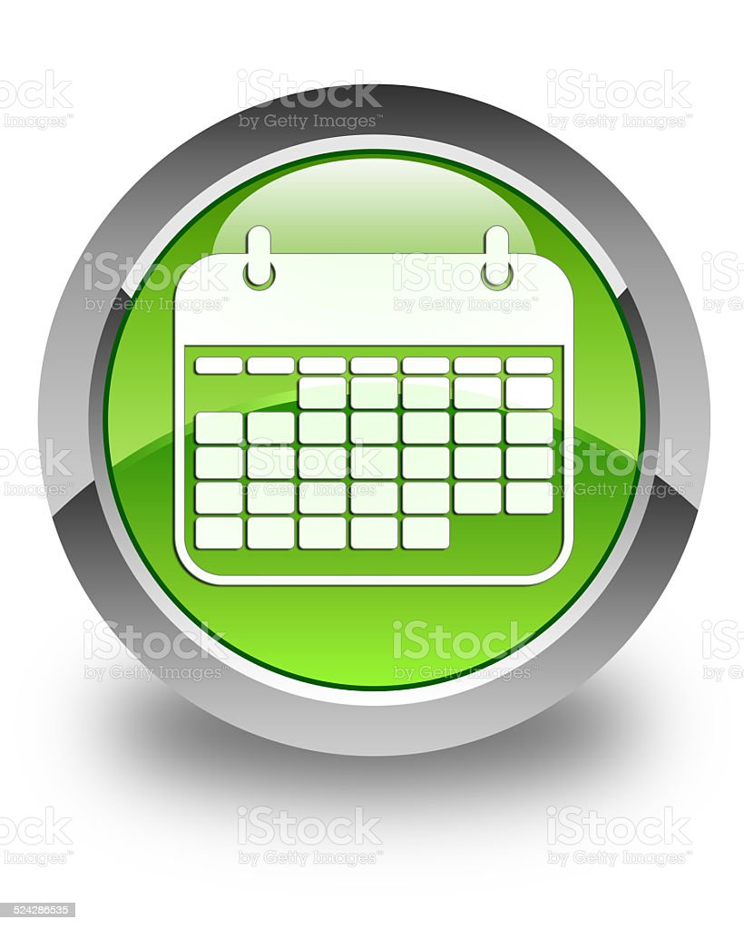 Calendar icon glossy green round button vector art illustration