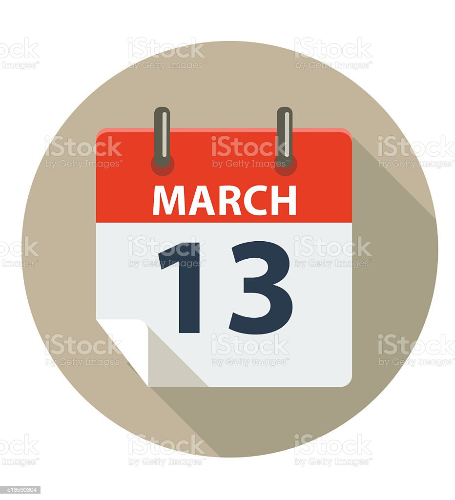 MARCH 13 Calendar Icon vector art illustration
